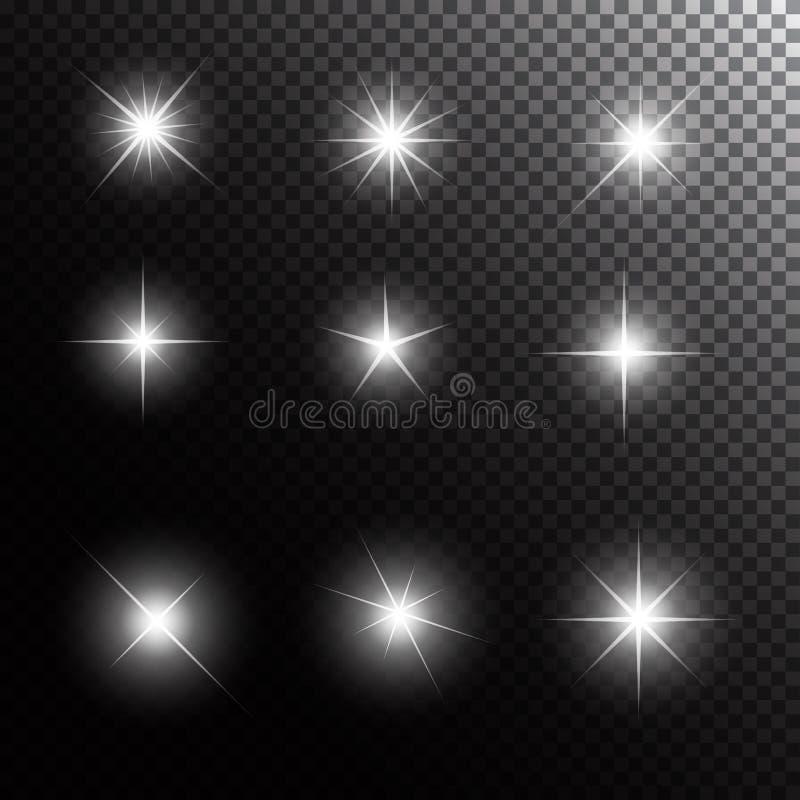 Комплект накаляя светлых звезд с вектором Sparkles иллюстрация вектора