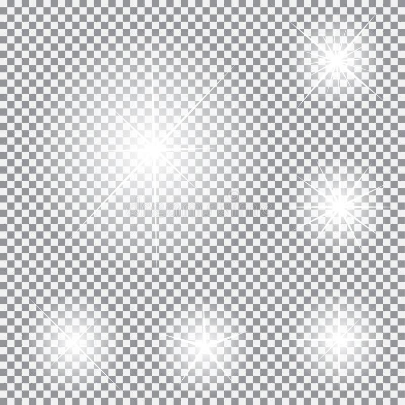 Комплект накаляя светлых звезд с вектором Sparkles иллюстрация штока