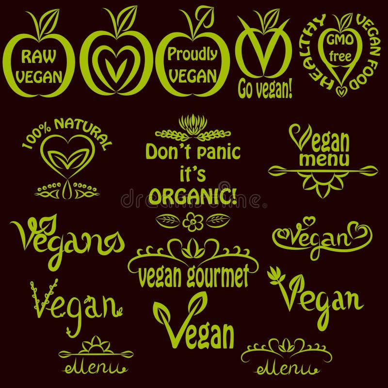 Комплект написанный рукой логотипов vegan, ярлыков текста vegan иллюстрация вектора