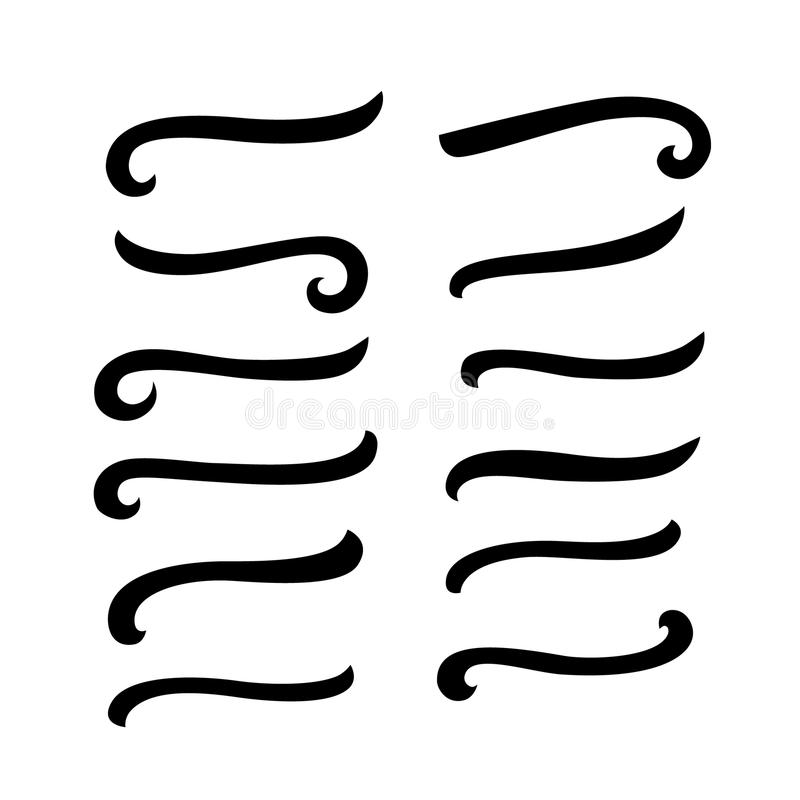 Комплект написанных рукой подчеркиваний литерности для вашего текста каллиграфии иллюстрация вектора
