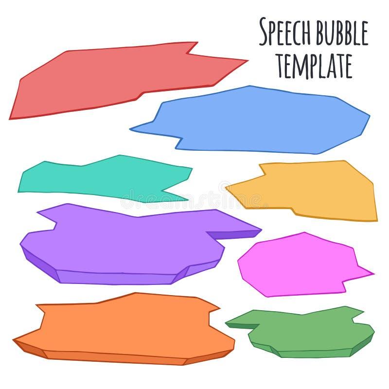 Комплект нарисованного вручную красочного пузыря речи doodle иллюстрация штока