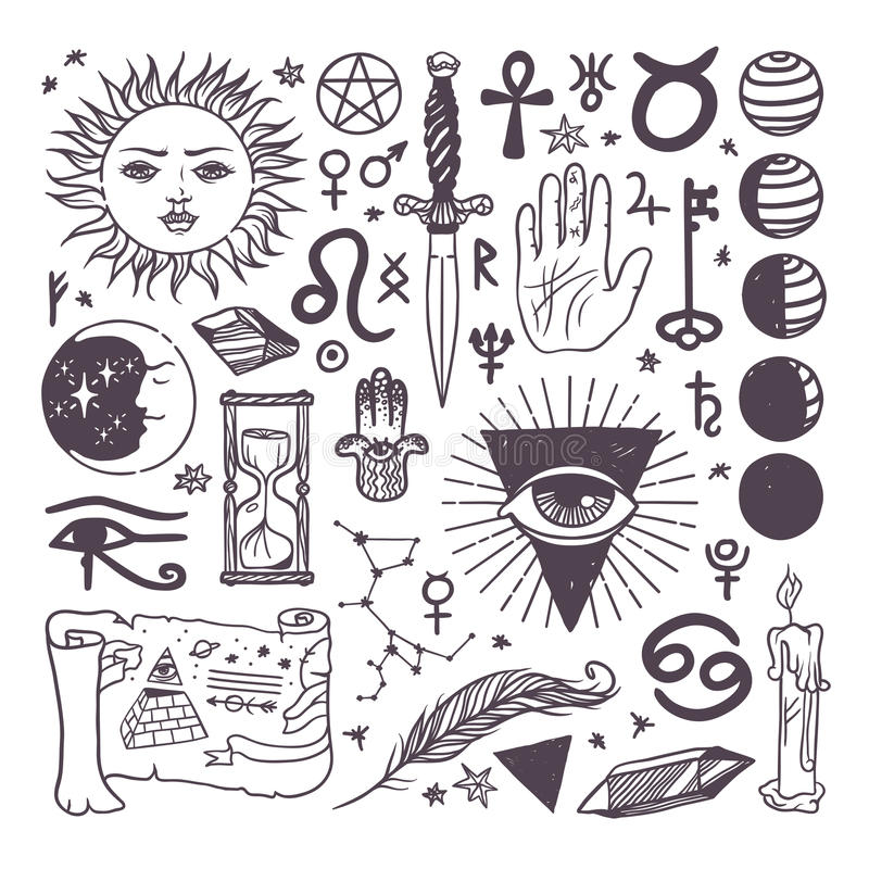 Комплект нарисованной руки эскиза собрания символов ультрамодного вектора эзотерической иллюстрация штока