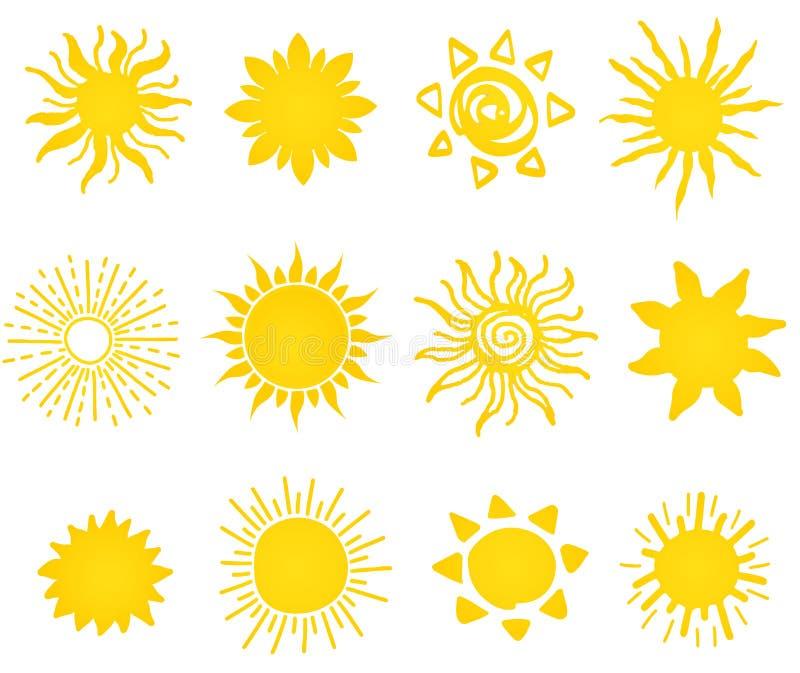 Комплект нарисованный рукой различных значков солнец иллюстрация вектора