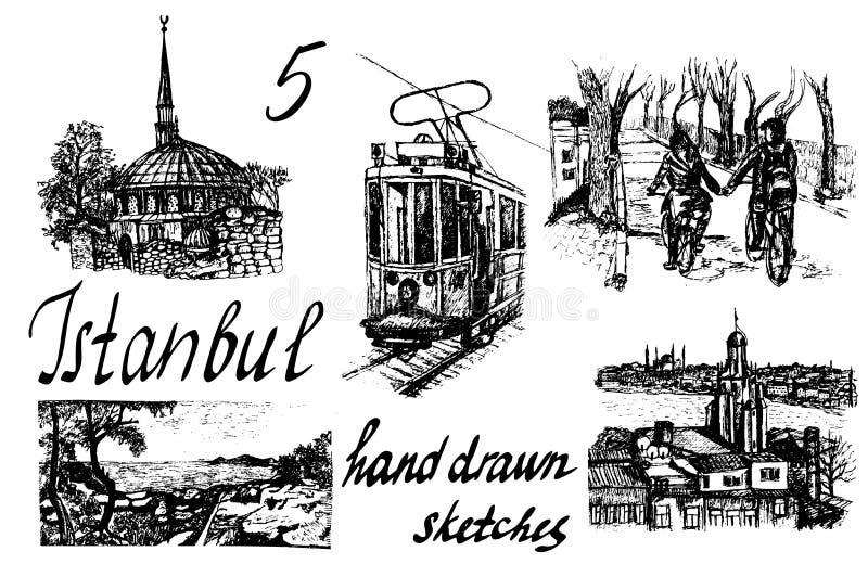 Комплект 5 нарисованных вручную иллюстраций Стамбула эскиза чернил бесплатная иллюстрация
