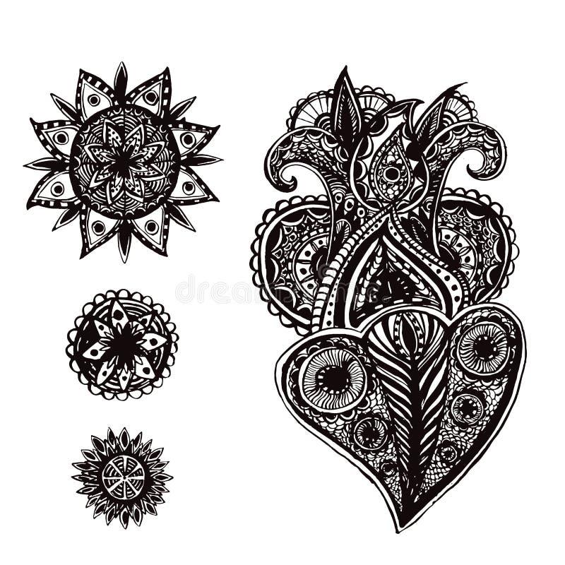 Комплект нарисованных рукой богато украшенных элементов doodle с иллюстрация штока
