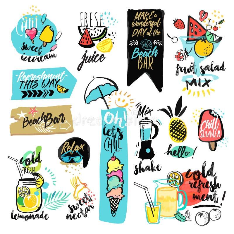 Комплект нарисованных рукой лент акварели и стикеры лета бесплатная иллюстрация