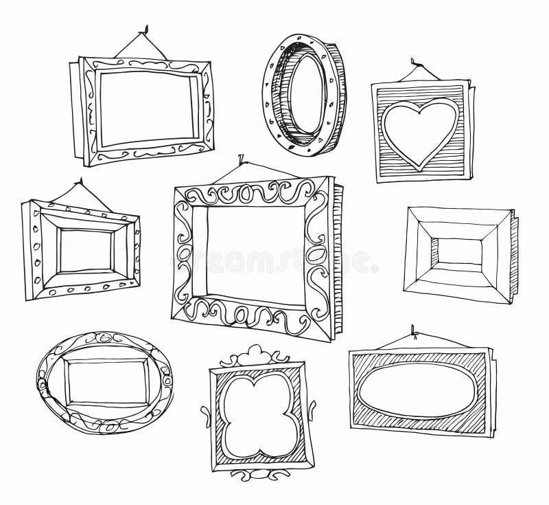 Комплект нарисованных рукой картинных рамок. иллюстрация вектора
