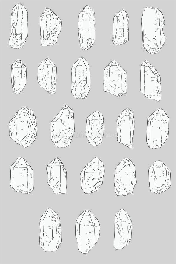 Комплект нарисованных рукой кристаллов кварца иллюстрация вектора