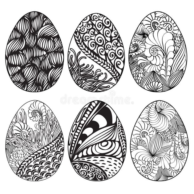 Комплект нарисованных рукой орнаментальных пасхальных яя с флористическим patt doodle бесплатная иллюстрация