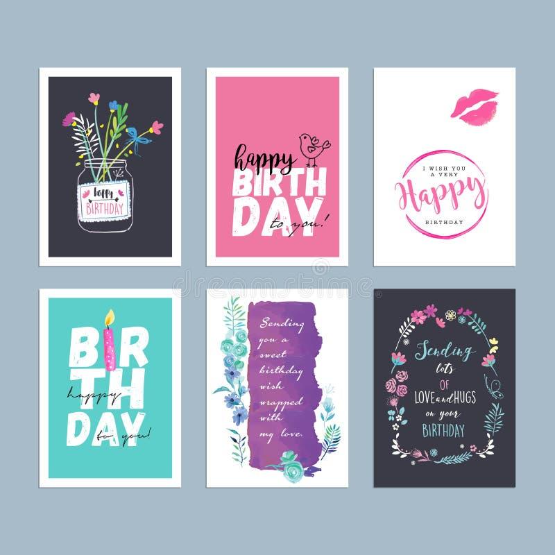 Комплект нарисованных рукой поздравительных открыток дня рождения акварели иллюстрация вектора
