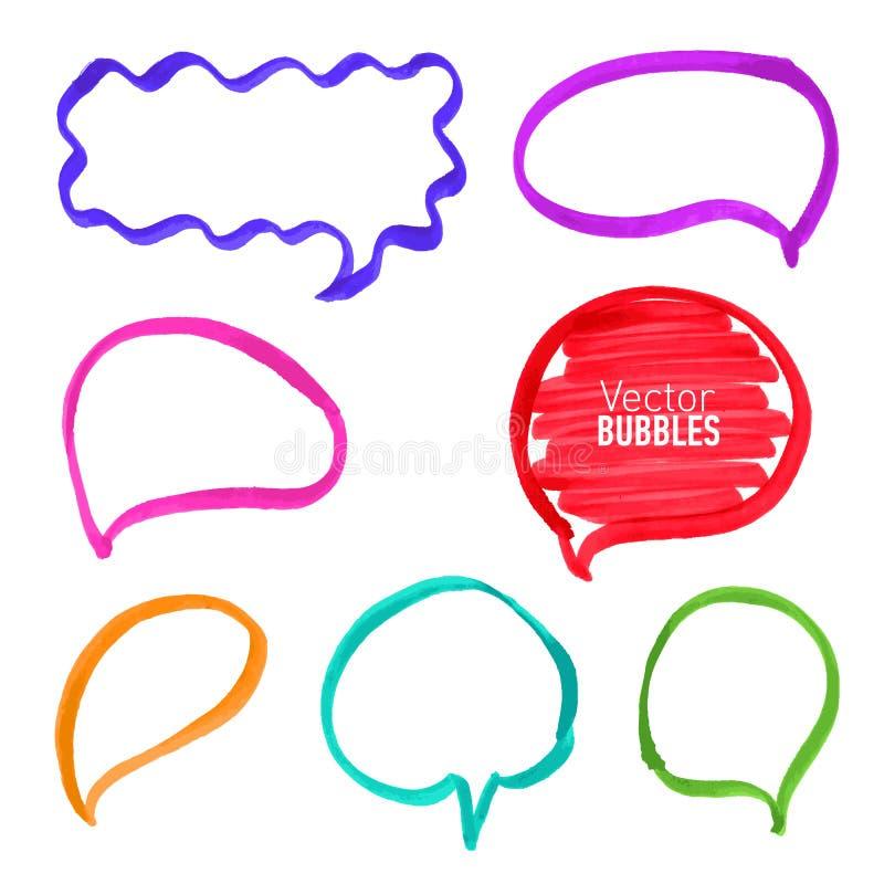 Комплект нарисованных рукой покрашенных пузырей отметки бесплатная иллюстрация