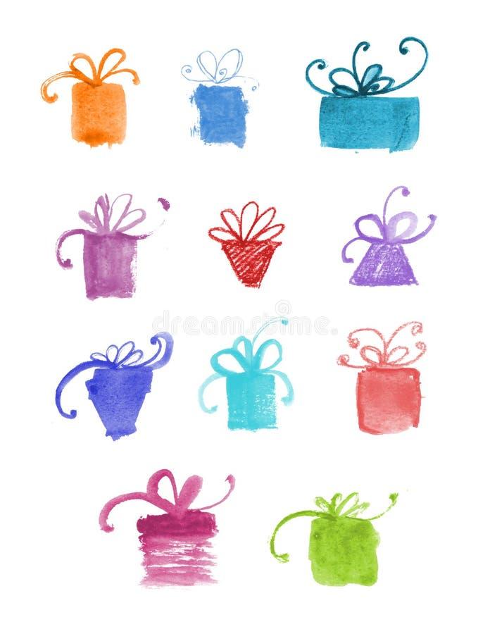 Комплект нарисованных рукой подарков акварели. иллюстрация штока