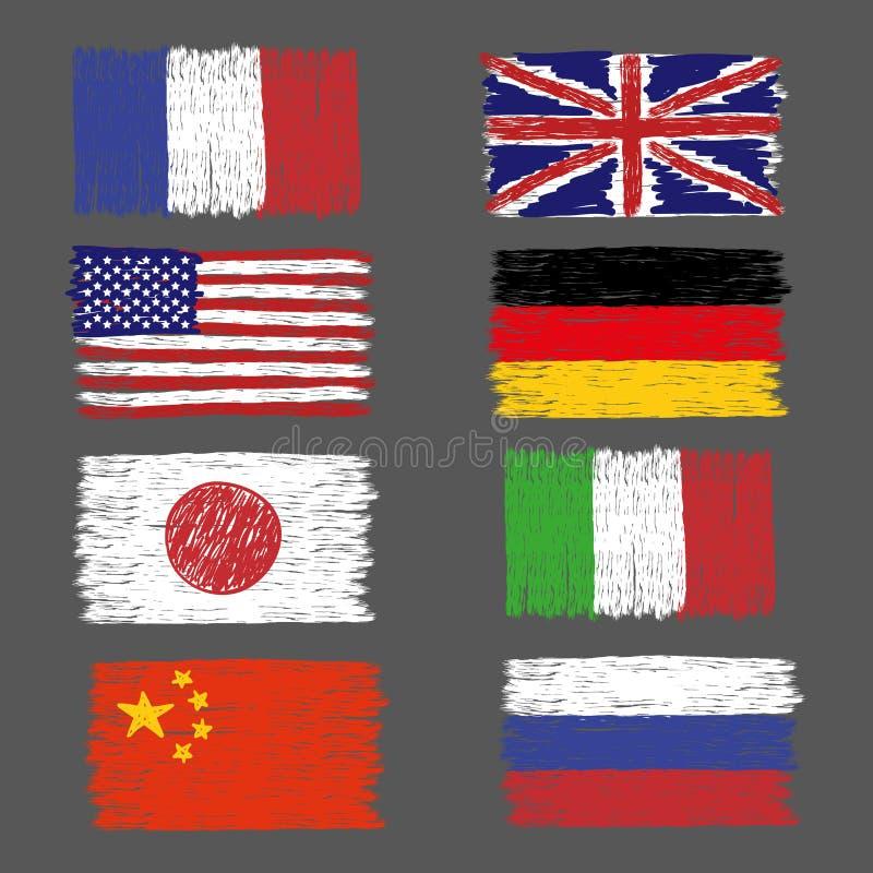 Комплект нарисованных рукой флагов мира grunge иллюстрация штока