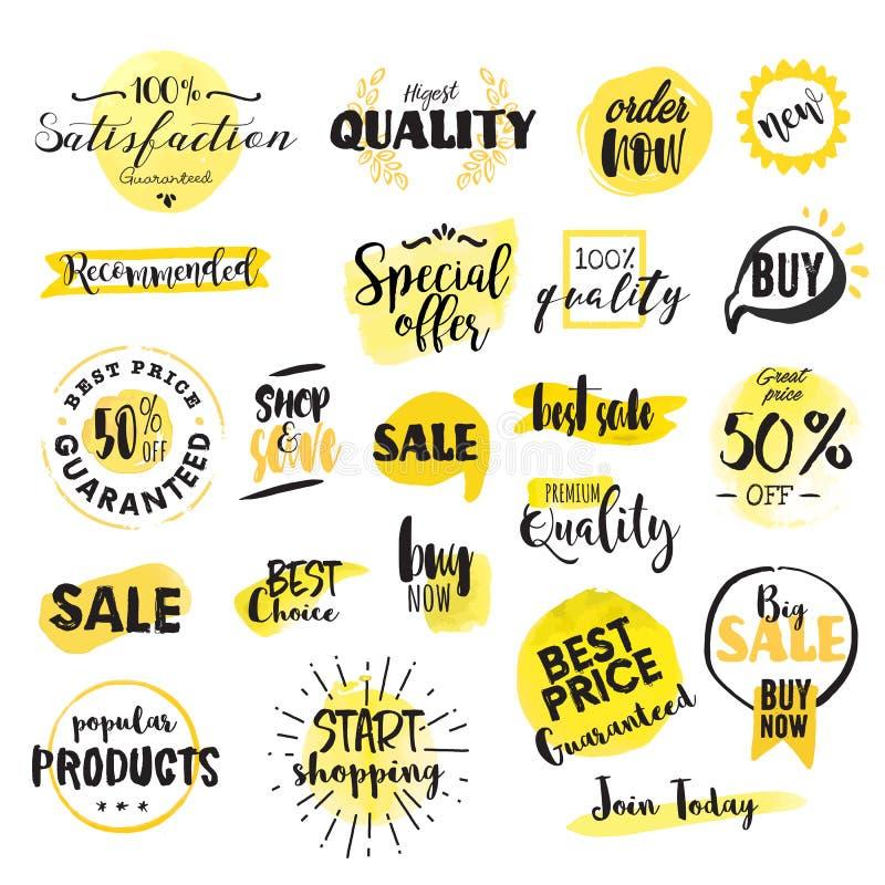 Комплект нарисованных рукой ярлыков и значков акварели для продажи иллюстрация вектора
