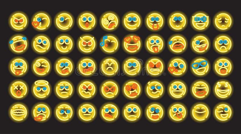 Комплект неонового emoji иллюстрация вектора
