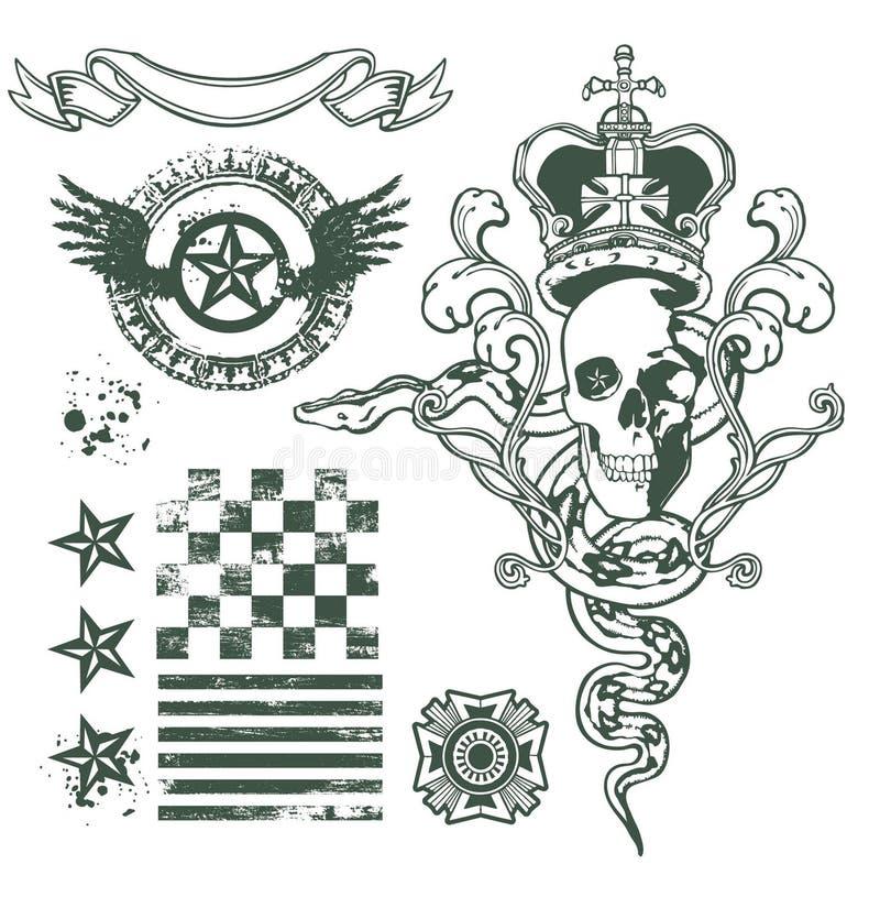 Комплект конструкции орнамента черепа бесплатная иллюстрация