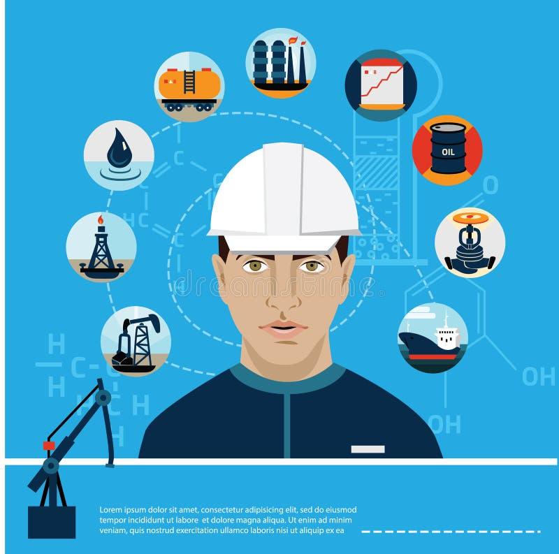 Комплект нефти машинного масла станции топливного горючего иллюстрация штока