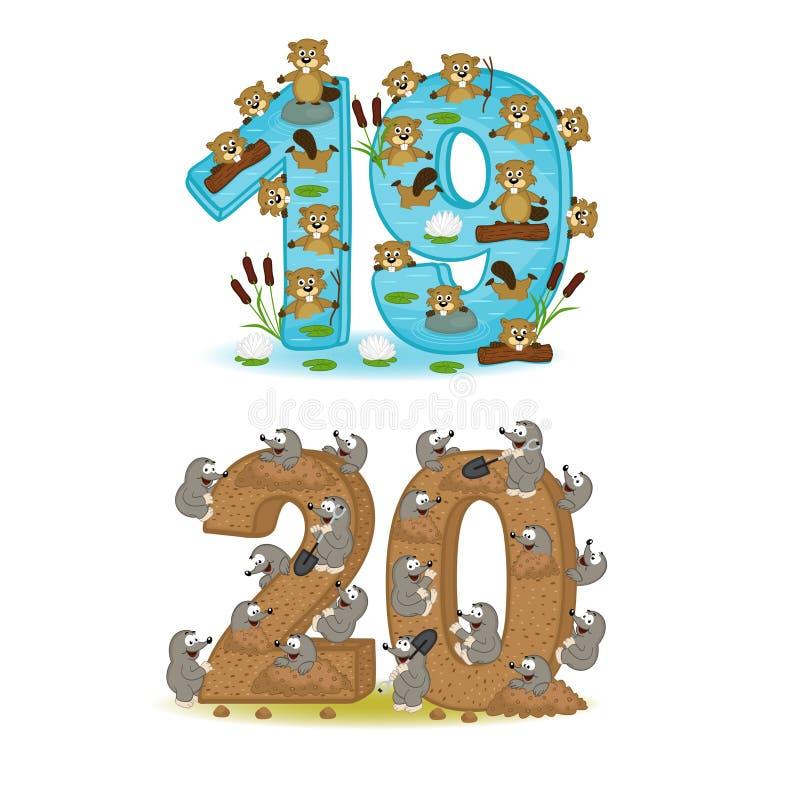 Комплект номеров с количеством животных от 19 до 20 бесплатная иллюстрация