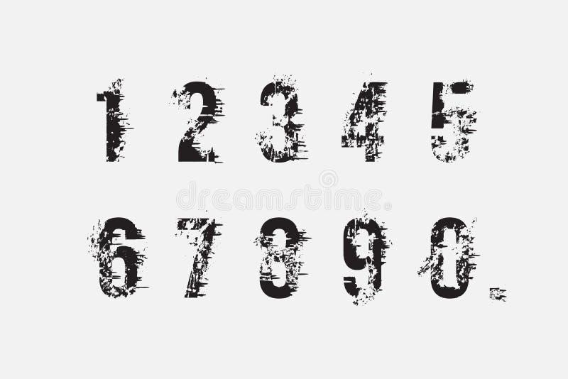 Комплект номеров grunge иллюстрация вектора