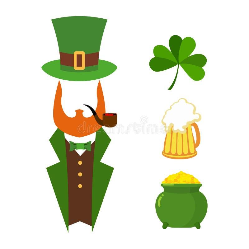 Комплект дня Patricks элементов зеленый цвет клевера кружка пива иллюстрация вектора
