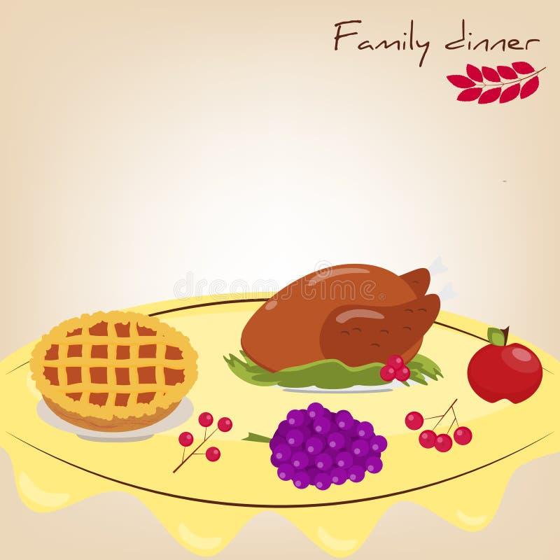 Комплект: обедающий семьи Турция, пирог, яблоко, виноградины, ягоды иллюстрация вектора