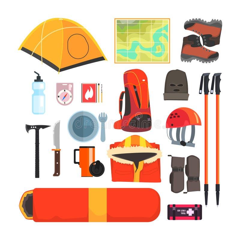 Комплект оборудования горы располагаясь лагерем иллюстрация штока