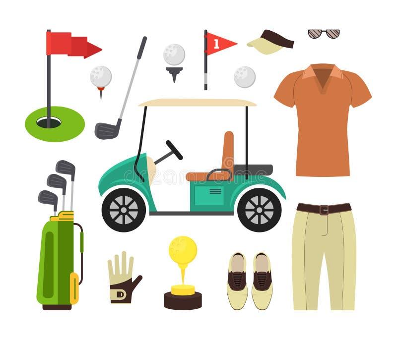 Комплект оборудования гольфа вектор иллюстрация вектора