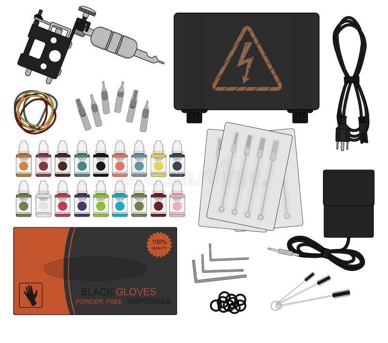 Комплект оборудования татуировки цвет бесплатная иллюстрация