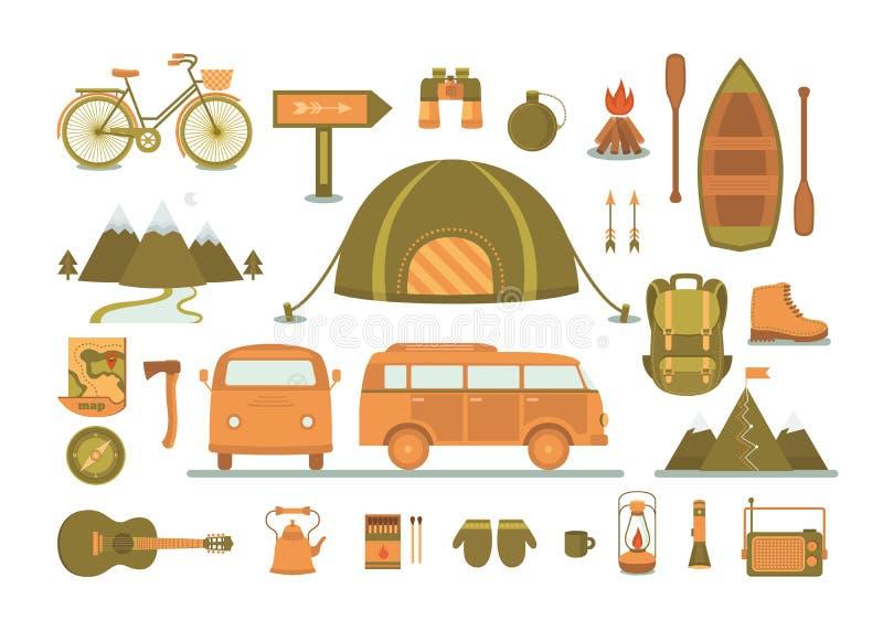Комплект оборудования для располагаться лагерем бесплатная иллюстрация