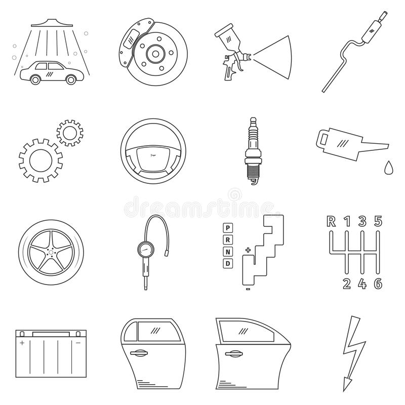 Комплект обслуживания автомобиля бесплатная иллюстрация