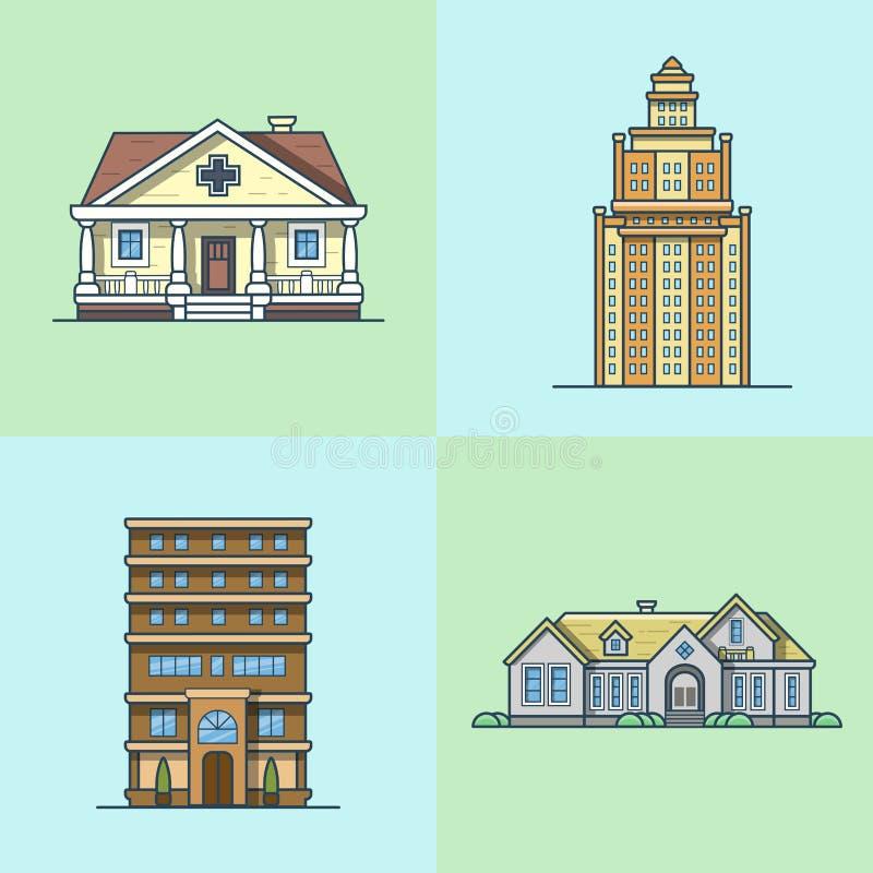 Комплект общественного здания архитектуры таунхауса города иллюстрация вектора