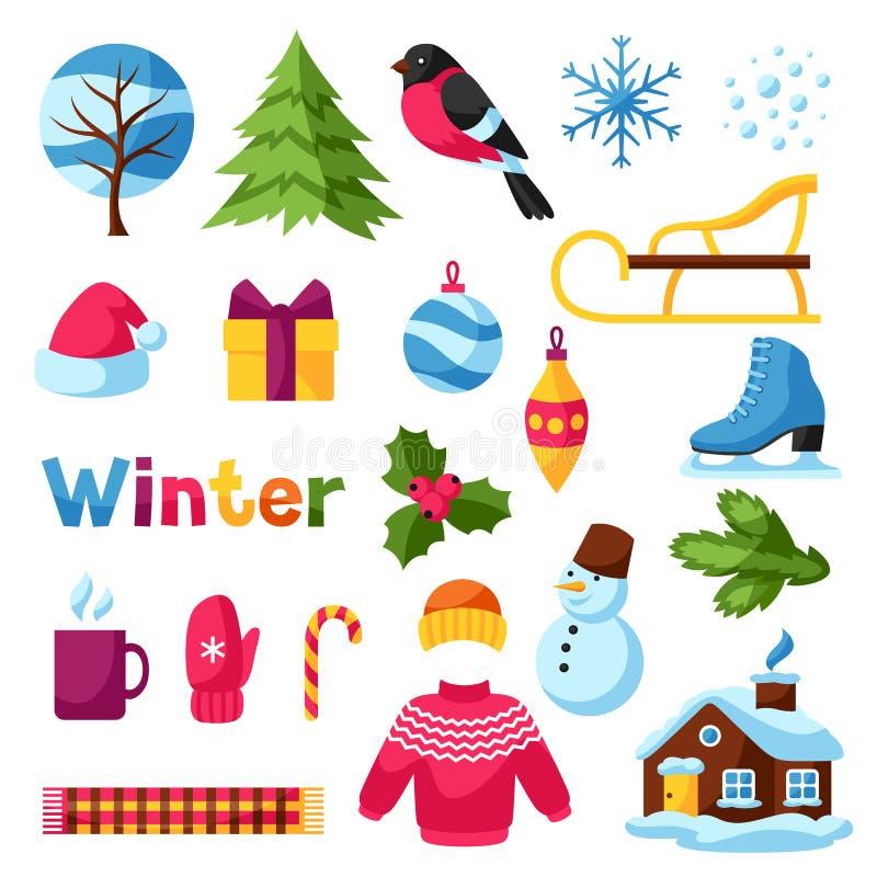 Комплект объектов зимы С Рождеством Христовым, счастливые детали праздника Нового Года и символы иллюстрация штока