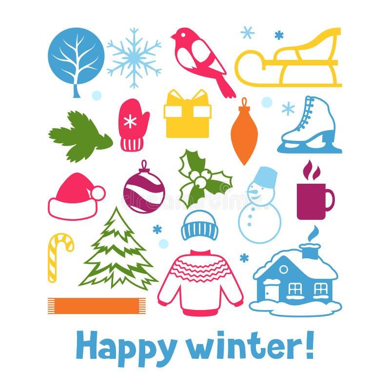 Комплект объектов зимы С Рождеством Христовым, счастливые детали праздника Нового Года и символы бесплатная иллюстрация