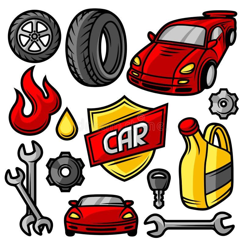 Комплект объектов и деталей ремонтных услуг автомобиля бесплатная иллюстрация