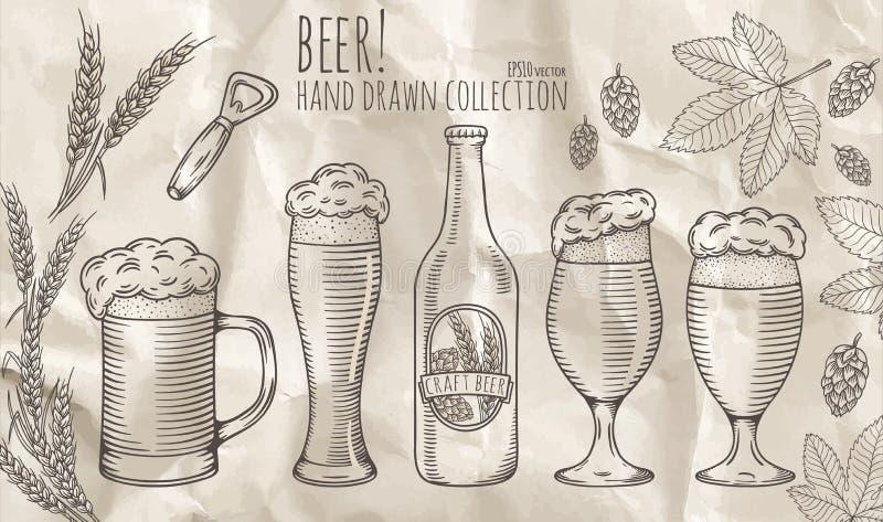 Комплект объектов пива иллюстрация штока