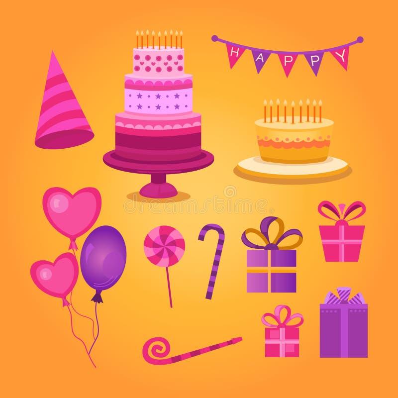 Комплект объектов с днем рождения иллюстрация вектора