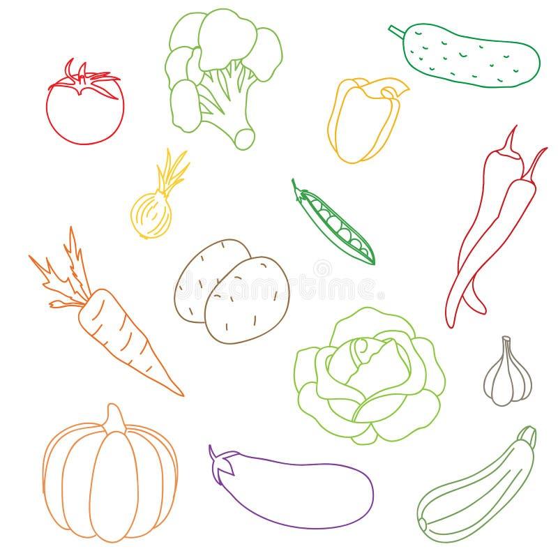 Комплект овощей изолированных на белой предпосылке стоковое фото