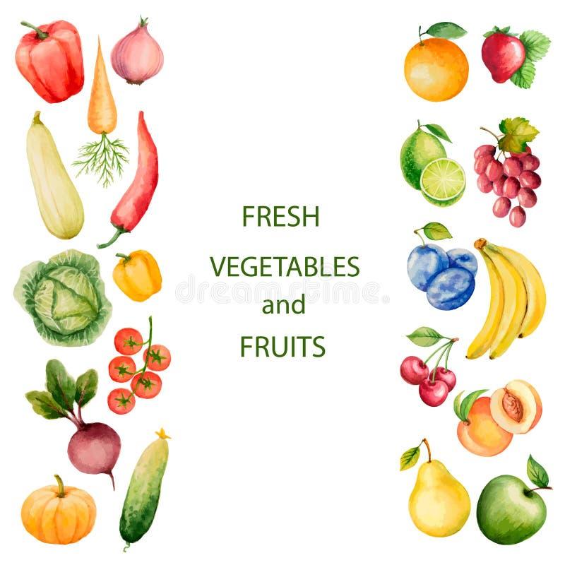 Комплект овощей и плодоовощей акварели иллюстрация штока