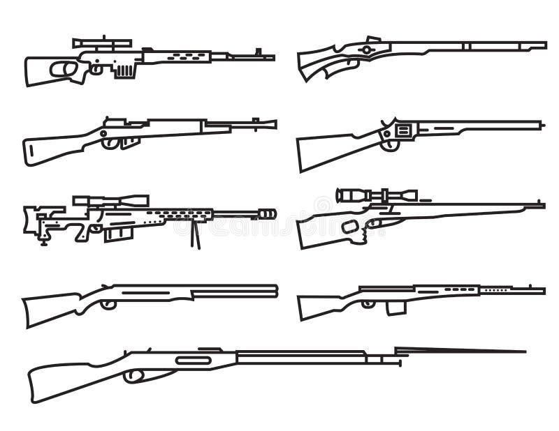 Комплект огнестрельного оружия Оружие, винтовка, штуцер Плоский дизайн План линейный иллюстрация вектора