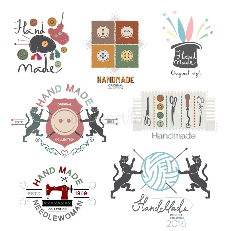Комплект логотипа вектора винтажного ручной работы, ярлыки и элементы дизайна иллюстрация штока