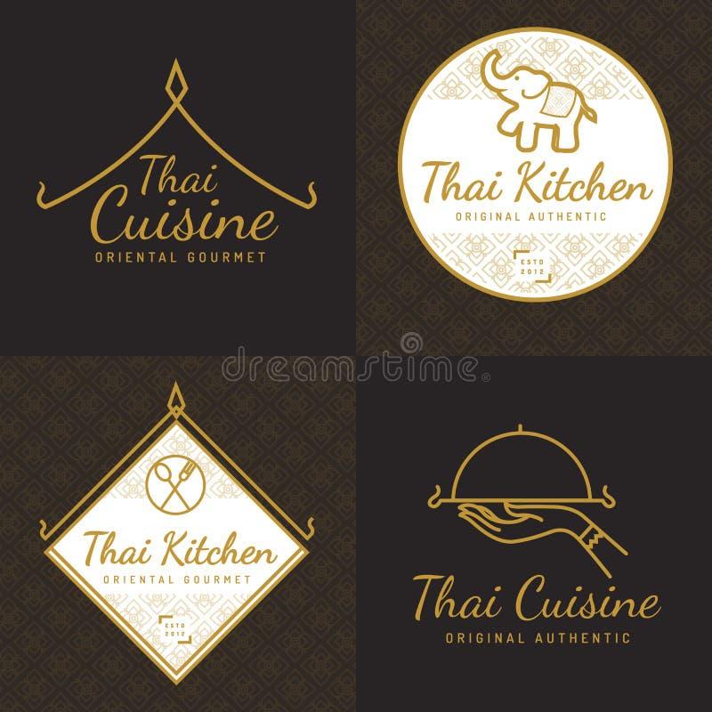 Комплект логотипа еды золотого цвета тайского, значков, знамен, эмблемы для азиатского ресторана еды с тайской картиной бесплатная иллюстрация