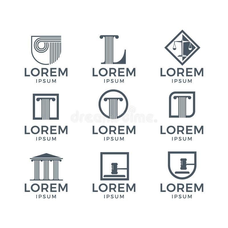 Комплект логотипа закона иллюстрация вектора