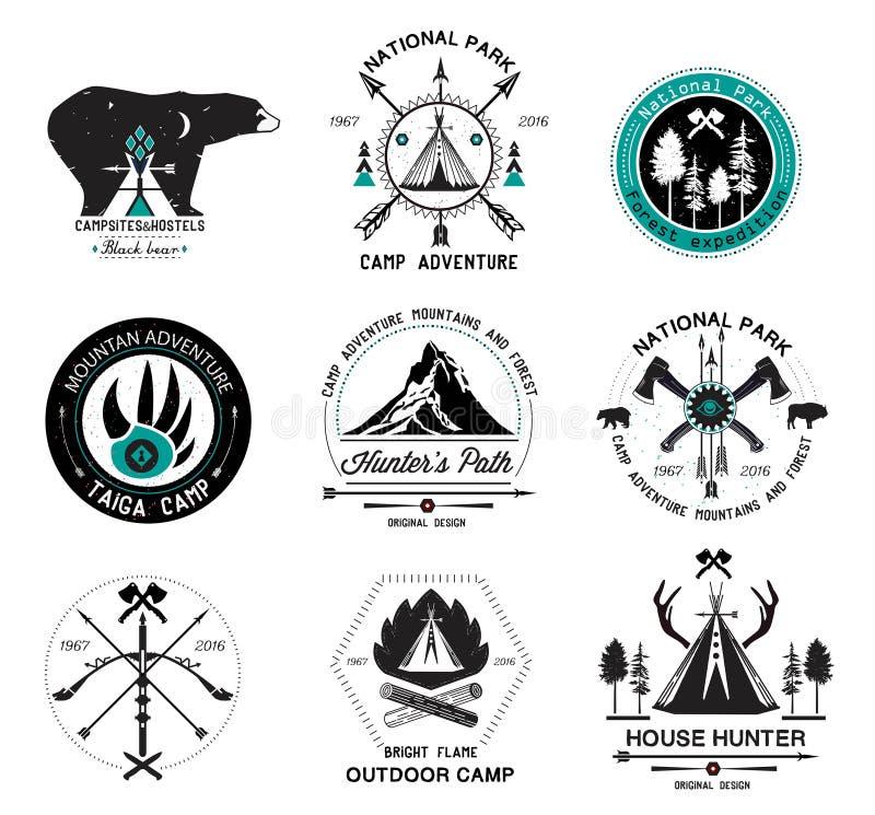 Комплект логотипа звероловства, ярлыков и элементов 2 дизайна бесплатная иллюстрация