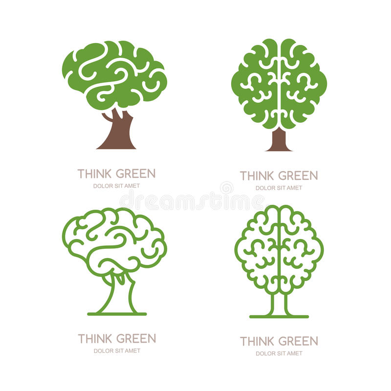 Комплект логотипа, значка, дизайна эмблемы с деревом мозга Думайте зеленый цвет, eco, земля спасения и экологическая концепция иллюстрация вектора