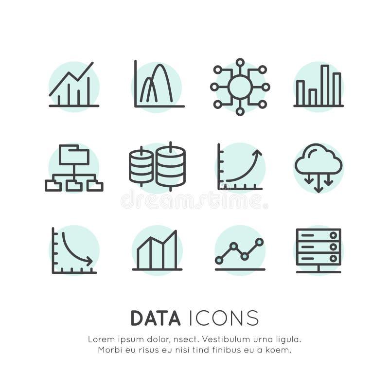Комплект логотипа изолированных простых элементов с данными по аналитика базы данных иллюстрация вектора