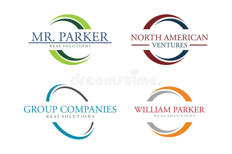 Комплект логотипа круга иллюстрация штока