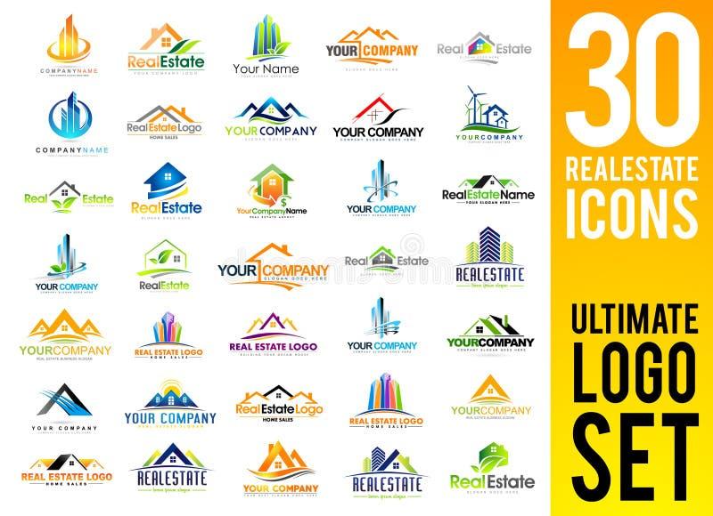 Комплект логотипа недвижимости бесплатная иллюстрация