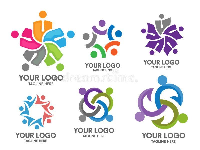 Комплект логотипа общины людей социальный иллюстрация штока