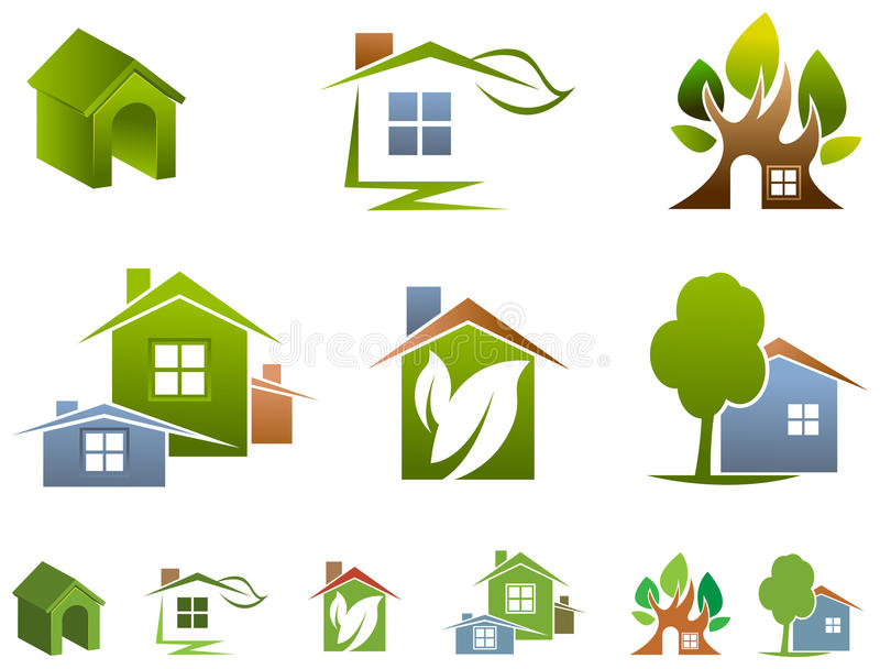 Комплект логотипа дома иллюстрация штока
