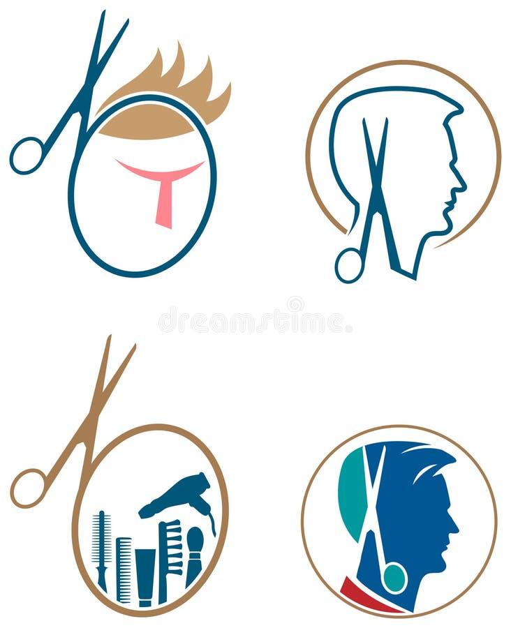 Комплект логотипа парикмахеров иллюстрация штока
